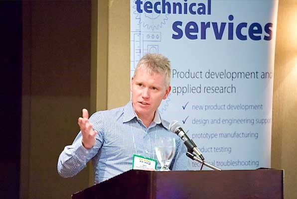 UBC's Iain MacDonald at the Wood Tech Summit.